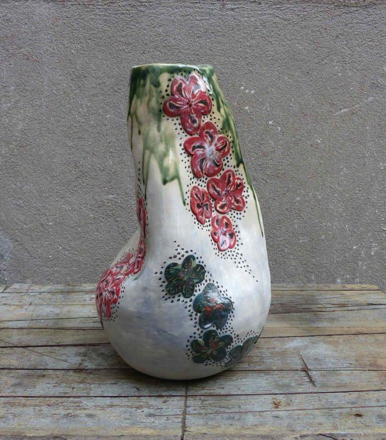 Vase Blanc - émail vert